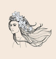 fashion portrait beautiful girl with long flowing vector image vector image