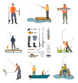 fishing people and items set vector image
