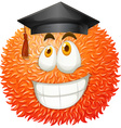 Fluffy ball with graduation cap vector image vector image