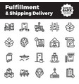 fulfillment and shipping delivery outline icons vector image