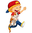 happy boy with his cat isolated vector image vector image
