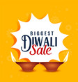 happy diwali sale yellow banner design vector image