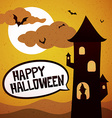happy halloween tower vector image vector image