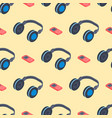 headphones music sound stereo dj seamless pattern vector image vector image