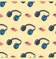 headphones music sound stereo dj seamless pattern vector image