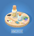 homeopathy isometric composition vector image vector image