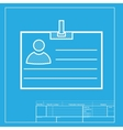 Id card sign White section of icon on blueprint vector image vector image