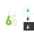 initial number 66 logotype line sketch concept in vector image