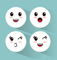 kawaii emoji faces collection vector image