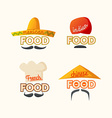 Logo set Mexican Chinese Indian French cuisine vector image vector image