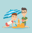 male friends building sandcastle on the beach vector image