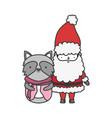 merry christmas celebration santa claus raccoon vector image vector image