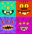 monster faces cute horned crazy goblin and slimy vector image vector image