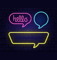 neon speech bubbles set with space for text hello vector image vector image