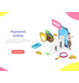payment online flat isometric concept vector image vector image
