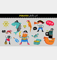 pirate collection hand drawn stickers vector image