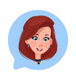 profile icon female head in chat bubble isolated vector image vector image