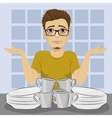 sad man and dirty dishes pile needing washing up vector image vector image