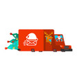 santa post car carry christmas tree and gifts vector image