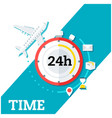time stopwatch plane icon background image vector image