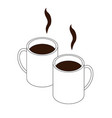 two hot drinks in cups isometry and lines logo vector image