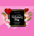 valetines day discount with red heart balloon and vector image