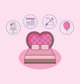 wedding card with just married bed vector image vector image