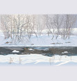 winter snowy forest landscape with ice river and vector image vector image