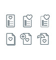 wishlist and favorites line icons set on white vector image vector image