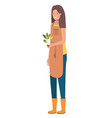 young woman gardener with plant avatar character vector image vector image