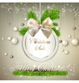 Paper round holiday label Christmas sale template vector image