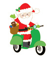Santa on Scooter vector image