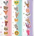 Children height meter wall Sticker set funny vector image