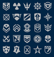 Military icons symbol set on navy vector image