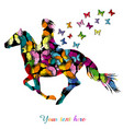 abstract woman riding a horse and butterflies vector image
