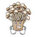 angry enoki mushroom mascot cartoon vector image vector image