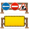 barriers with road signs vector image vector image