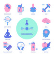 biohacking concept banner with icons in flat style vector image vector image