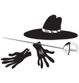 Black hat with gloves and epee vector image vector image