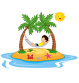 Boy relaxing in a hammock vector image vector image