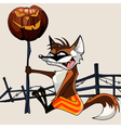 cartoon funny fox holding a halloween pumpkin on a vector image vector image