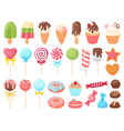 cartoon sweets sweet ice cream cupcakes and vector image