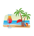 cocktail and palm tree vector image