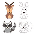coloring page with animal wild deer and raccoon vector image vector image