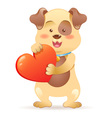 Cute toy Dog pet isolated holding heart vector image