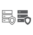 database protection line and glyph icon server vector image vector image