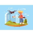 Delivery using quadrocopters vector image