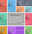 Euro icon sign Set of multicolored buttons Metro vector image vector image