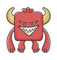 evil red square devil cartoon monster vector image vector image