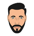 face man with beard male head in cartoon style vector image vector image